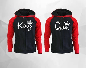 King Queen Hoodies King Queen Raglan Hoodies King Hoodie Queen Hoodie Couple Hoodie Couple Sweater Couple Hooded Gift For Couple