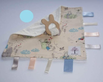 Peter Rabbit/Beatrix Potter sensory/taggy teething blanket with organic wooden rabbit teething ring