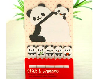 Panda Sticky Notes, kawaii stationery, panda memo pad, cute sticky tabs, planner tabs, animal stationery, sticker tabs, cute post it notes
