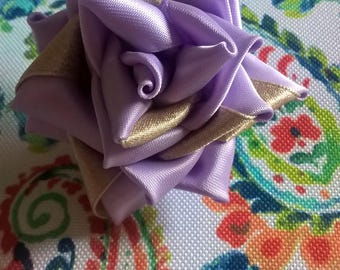 Lavender and Taupe Rose on French Barrette