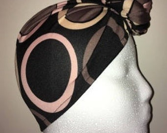 Black Swirl PRE-Tied / Fitted Headwrap