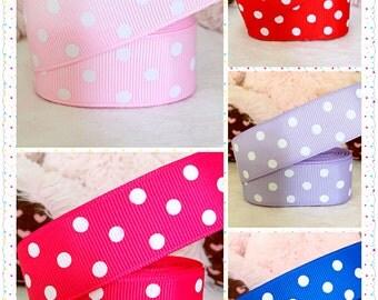 """5 yards 1"""" Polka dots ribbon, red polka dots ribbon, pink polka dots ribbon, purple polka dots ribbon, grosgrain ribbon"""