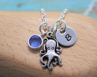 Octopus Necklace - Octopus Jewelry - Cute Octopus Jewelry - Silver Octopus - Personalized Octopus Gifts