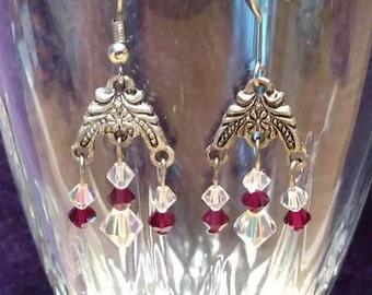 Ruby And Clear Dangled Earring
