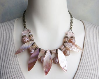 mother of pearl necklace - featured light pink multi strand necklace «outstanding» look - CO337