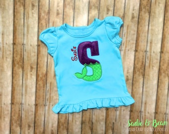Girls Mermaid Shirt, Little Mermaid Shirt, Letter shirt, Mermaid birthday shirt, Mermaid initial, shirt, Girls shirt, Personalized Shirt