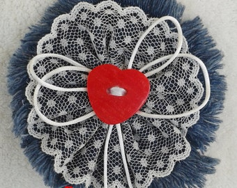 Textile brooch, denim brooch, red heart, jeans flower brooch, boho brooch,  shabby chic, jeans flower brooch/pin, unique gift, gift for her