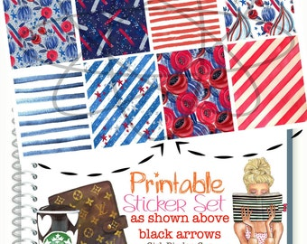 Patriotic Planner Stickers, Red White and Blue Full Box Stickers, Planner Stickers, Planner Stickers, Memorial Day, July 4th