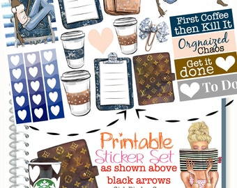 Planner Stickers, GLAM GIRL PLANNER Stickers, Dark Skin African American Planner Girl Stickers, First Coffee, Checklist, Fashion Girl