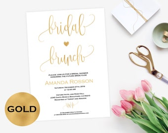Brunch invitation White and Gold Bridal Shower Gold Wedding Calligraphy DIY Printable Wedding #WDHOO93