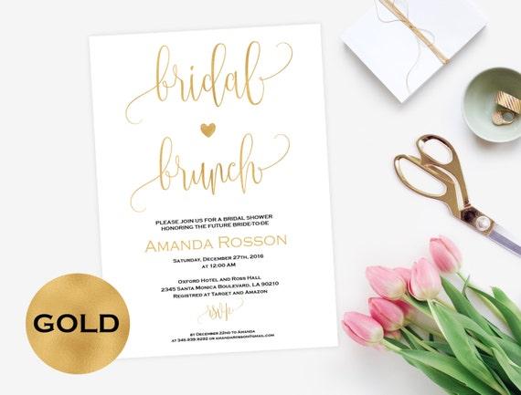 Brunch invitation White and Gold Bridal Shower Gold Wedding Calligraphy DIY Printable Wedding #WDHOO93