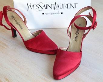SALE Vintage YSL Yves Saint Laurent Red Satin Ankle Strap Heels, Vintage Red Satin Sandal Size 37 1/2