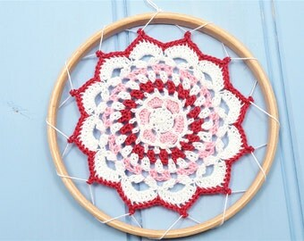 Bohemian mandala wall hanging, embroidery hoop art, doily wall decor, wedding decor, housewarming gift