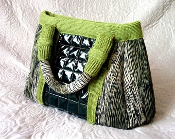 Emerald Skyscraper City Handbag Crochet Sewed Bag