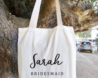 Custom Name Tote Bag, Personalized Bridesmaid Tote Bag, White and Floral Canvas Tote Bag, Bridal Party Gift Bags, Wedding Tote Bags, Rustic