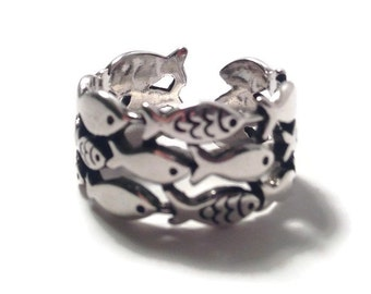School Of Fish Ring Sterling Silver