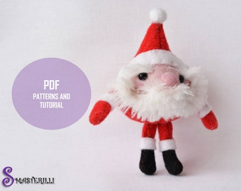 Christmas and new year Santa Klaus felt toy sewing PDF pattern and tutorial