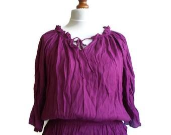 Vintage Womens blouse, Boho blouse, Vintage blouse, Hippie blouse, Summer blouse, Loose fit blouse, Airy blouse, Gypsy blouse, Size M