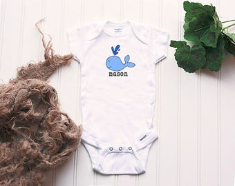 Whale Onesie® - customized Gerber Onesie®, whale outfit, take home outfit, cute boy bodysuit, your name Onesie®, Onsie® whale, ocean, water