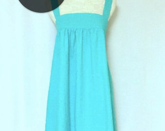 SPECIAL OFFER! Limited Edition : Japanese Style Turquoise Sundress in 100% Cotton, Dress, Evening Dress, Turquoise Dress, [S-1000-3]