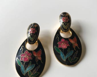 Vintage Huge Cloisonne Doorknocker Post Earrings, Black Cloisonne Pierced Earrings, Convertible 2 in 1 Cloisonne Earrings, 1980s Earrings