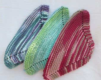 Hand Knit, 100% cotton, ombre wash cloths/spa cloths Set of three