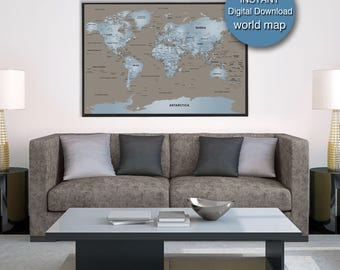 40x60 world map etsy detailed world map download blue brown world map printable 72x48 large world map city capital country gumiabroncs Image collections