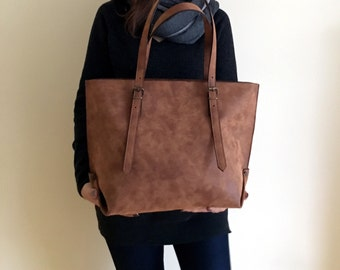 Faux Leather Brown Tote Bag - Vegan Handbag - Water Resistant - Vegan Leather - Rustic Leather - Distressed Leather - Boho Bag - Gift