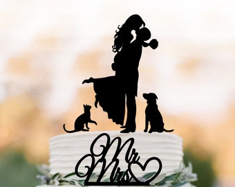 Wedding Cake topper with dog and cat, silhouette wedding cake toppers, two tier wedding cake toppers with pets mr and mrs cake topper