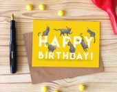 Happy Birthday Cat Card, Party Cat Greetings Card, Cats in Party Hats Card
