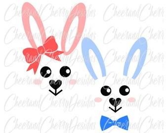 Bunny SVG Easter Monogram SVG Bunny face svg Rabbit svg Monogram Bunny Clipart Rabbit Cut Files for Silhouette svg files for cricut boys svg