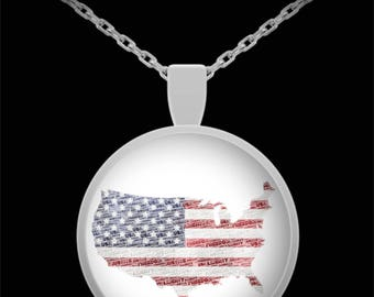 """Necklace American Flag USA Freedom, Liberty & Independence American Flag Silver Necklace with 22"""" Chain!  4th of July Patriotic Jewelry Gift"""