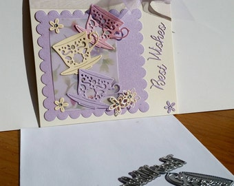 A square cream best wishes card, handmade, handcrafted, embellished.