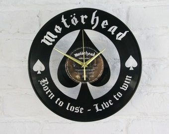 Motorhead vinyl record wall clock, ideal for home decor, unique gift present and hand made art, interior design for music fan, 036