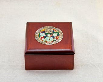 Wooden jewelry box. Japanese vintage box made of lacquer wood and mother-of-Perl.
