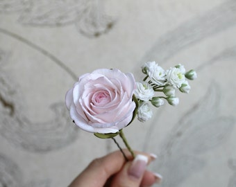 Rose hair pin Gypsophila Hairpin Pink wedding roses Baby's Breath White Bridal flowers Wedding hair accessory bridesmaid gift flower hairpin