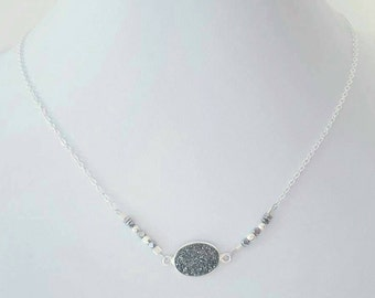 Dark grey / black druzy necklace on 925 sterling silver chain with hematite beads
