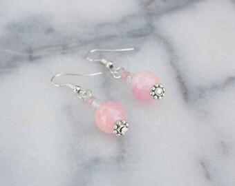 Drop Earrings, Pink, Beaded, Silver, Earrings, Handmade, Made in Canada