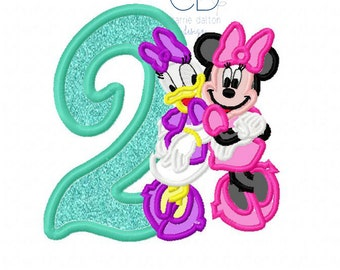 Minnie and Daisy Embroidery Design, Minnie Birthday Applique Design