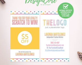 Scratch Off Card, Scratch to Win, Home Office Approved, Personalized, Polka Dot Design, Digital Files, Marketing, Fashion Retailer, DCSOC001
