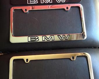 Solid Brass Car License Frames - BMW NOS