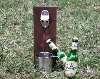 Beer cap catcher, Beer bottle opener, Man's gift, Christmas gift, Beer gift, Bar decor, Rustic bottle opener, Groomsmen gift