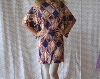 Argyle Gypsy Dress | vintage color block 60's mini dress / geometric batwing sleeve