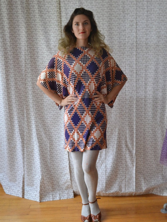 Argyle Gypsy Dress | vintage color block 60's mini dress / geometric batwing sleeve