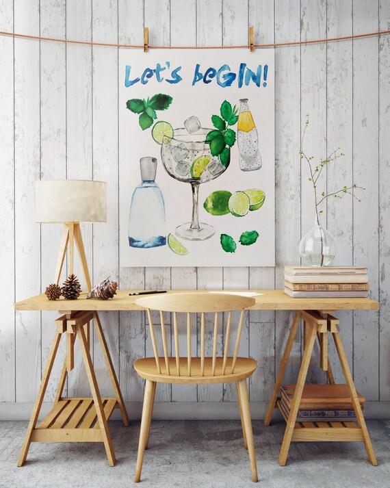 LET'S beGIN! Kitchen art | Wall art | poster art | Bar art | art prints for sale | artwork | Posters | Cocktail art | Instant download
