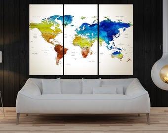 extra large wall art push pin world map wall art print, Modern wall decal, interior design home decor No:10S26