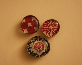 Custom Decorative Glass Magnets-- Perfect for refrigerators, office areas, Gift ,Party favor - set of 3