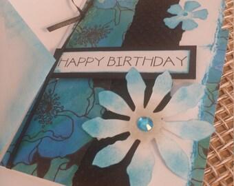 Birthday card - feminine - Black, Green & Blue