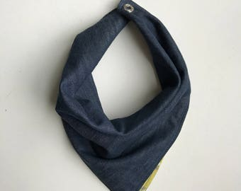 Spring Chambray: Sartruce Floral Reversible Bandana Neckerchief in Baby and Teen/Adult Sizes
