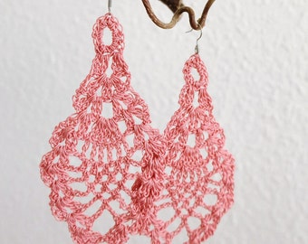 dusty rose crochet earrings